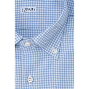 Camicia Oxford fantasia quadretto bianco celeste