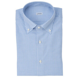 Camicia Oxford fantasia quadretto bianco celeste