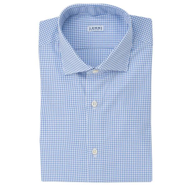 Camicia fantasia quadretto bianco celeste Collo francese