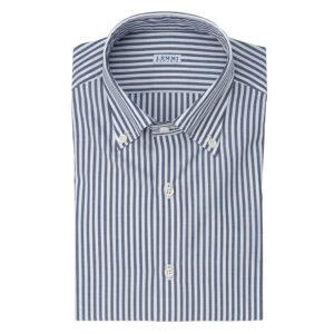 Camicia Oxford riga bianca e blu