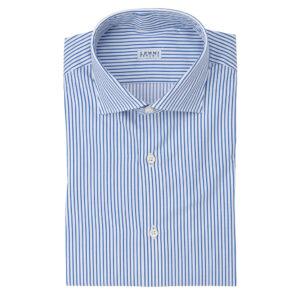 Camicia rigata bianca blu aperto